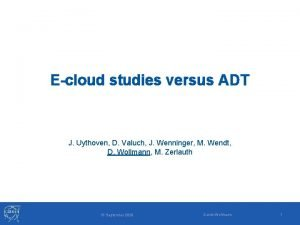 Ecloud studies versus ADT J Uythoven D Valuch