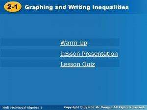 Writing Inequalities 2 1 Graphingand Writing Warm Up