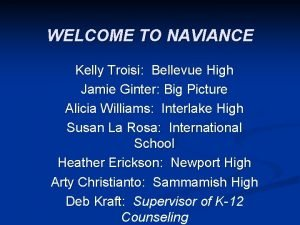 WELCOME TO NAVIANCE Kelly Troisi Bellevue High Jamie