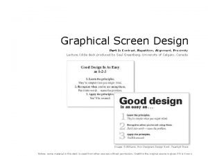 Graphical Screen Design Part 1 Contrast Repetition Alignment