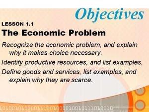 LESSON 1 1 Objectives The Economic Problem Recognize