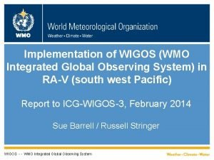 WMO Implementation of WIGOS WMO Integrated Global Observing