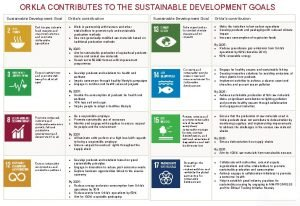 ORKLA CONTRIBUTES TO THE SUSTAINABLE DEVELOPMENT GOALS Sustainable