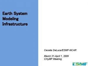 Earth System Modeling Infrastructure Cecelia De LucaESMFNCAR March