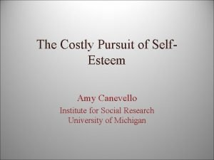The Costly Pursuit of Self Esteem Amy Canevello