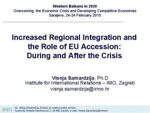Western Balkans in 2020 Overcoming the Economic Crisis
