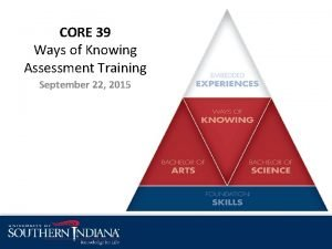 CORE 39 Ways of Knowing Assessment Training September