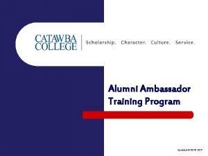 Alumni Ambassador Training Program Updated 51010 EEP Alumni