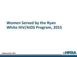 Women Served by the Ryan White HIVAIDS Program