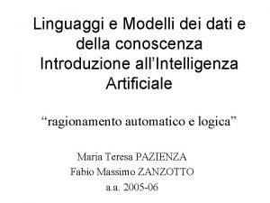 Linguaggi e Modelli dei dati e della conoscenza