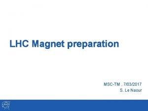 LHC Magnet preparation MSCTM 7032017 S Le Naour
