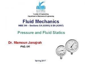 Faculty of Engineering Department of Mechanical Engineering Fluid