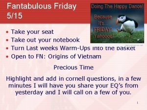 Fantabulous Friday 515 Take your seat Take out
