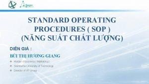 STANDARD OPERATING PROCEDURES SOP NNG SUT CHT LNG