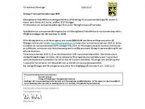 Till distriktets freningar Frslag till seriesammansttningar 2017 2016