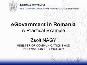 e Government in Romania A Practical Example Zsolt