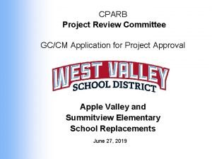 CPARB Project Review Committee GCCM Application for Project