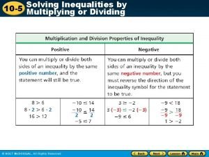 Inequalities by 10 5 Solving Multiplying or Dividing