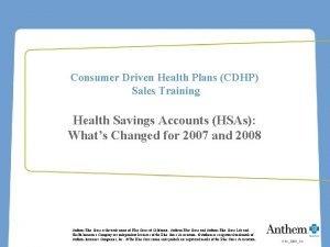 Consumer Driven Health Plans CDHP Sales Training Health