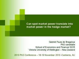 Can spot market power translate into market power