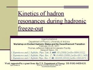 Kinetics of hadron resonances during hadronic freezeout Inga