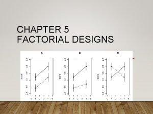 CHAPTER 5 FACTORIAL DESIGNS FACTORIAL ESSENTIALS Factorial design
