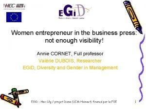 Women entrepreneur in the business press not enough
