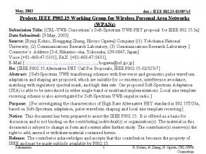 May 2003 doc IEEE 802 15 03097 r