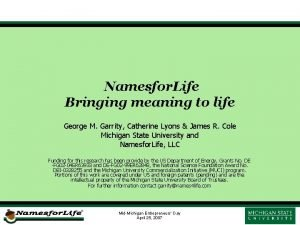 Namesfor Life Bringing meaning to life George M