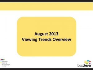 August 2013 Viewing Trends Overview Total Viewing August
