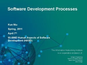 Software Development Processes Kun Niu Spring 2011 April
