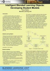 Intelligent Blended Learning Objects Developing Student Models Trevor