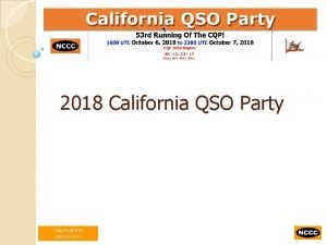 2018 California QSO Party California QSO Party CQP