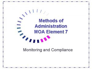 Methods of Administration MOA Element 7 Monitoring and