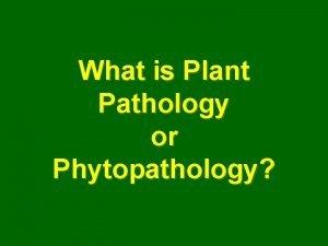 What is Plant Pathology or Phytopathology Plant Pathology