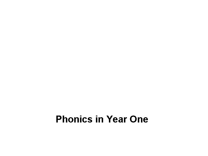 Phonics in Year One What is phonics Phonics