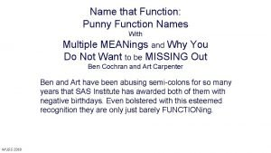 Name that Function Punny Function Names With Multiple