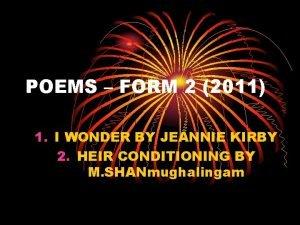 POEMS FORM 2 2011 1 I WONDER BY