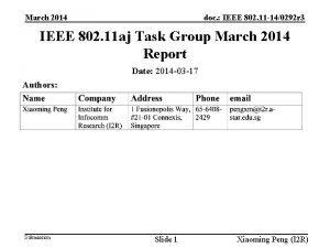 March 2014 doc IEEE 802 11 140292 r