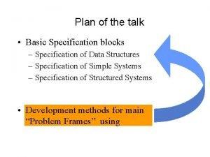 Plan of the talk Basic Specification blocks Specification