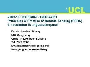 2009 10 CEGEG 046 GEOG 3051 Principles Practice