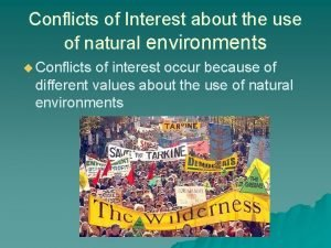 Conflicts of Interest about the use of natural