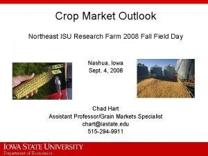 Crop Market Outlook Northeast ISU Research Farm 2008