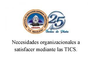 Necesidades organizacionales a satisfacer mediante las TICS INTRODUCCIN