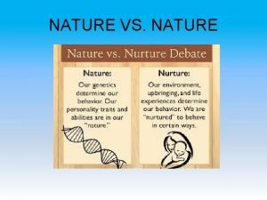 NATURE VS NATURE Social Context Domain Nature Nurture