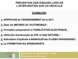 PREVENTION DES RISQUES LORS DE LINTERVENTION SUR UN