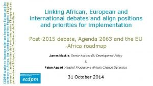 Linking African European and international debates and align