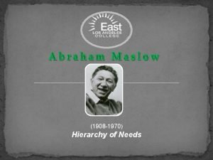 1908 1970 Hierarchy of Needs Maslows Background Born