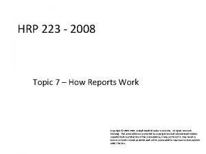 HRP 223 2008 HRP 223 2008 Topic 7