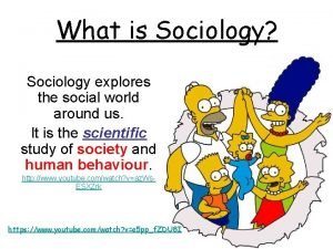 What is Sociology Sociology explores the social world